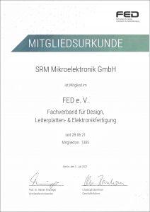 FED Mitgliedsurkunde SRM Mikroelektronik